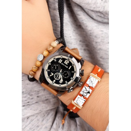ست ساعت دستبند مهره دار مردانه