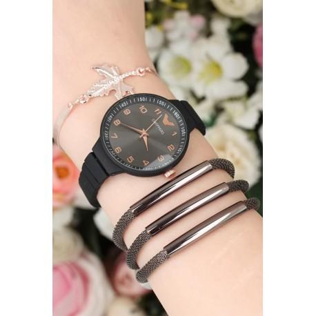 ست ساعت دستبند مشکی زنانه