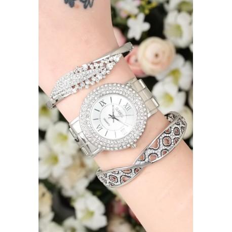 ست ساعت دستبند سیلور زنانه