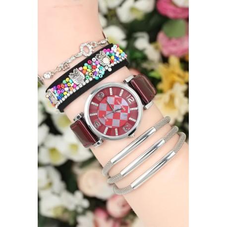 ست ساعت دستبند چرم زنانه