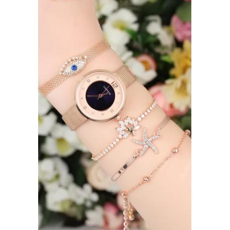 ست ساعت دستبند طلایی زنانه