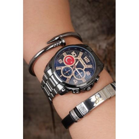 ست ساعت دستبند استیل مردانه