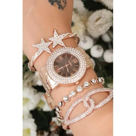 ست ساعت و دستبند نگین دار