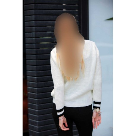 بلوز بافت سفید زنانه