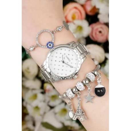 ست ساعت و دستبند نقره ای