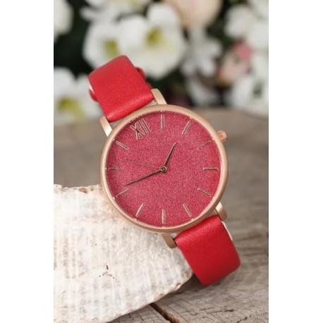 ساعت بند چرمی قرمز
