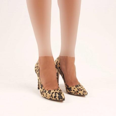 کفش پاشنه دار پلنگی زنانه