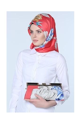 ست کیف و روسری طرح گل زنانه