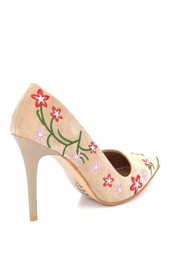کفش پاشنه دار طرح گل زنانه