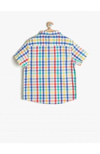 پیراهن آستین کوتاه چهارخانه بچه گانه