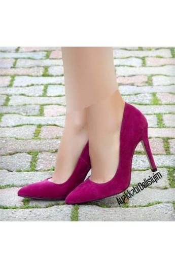 کفش پاشنه دار مخمل زنانه