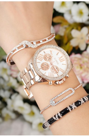 ست ساعت دستبند نگین دار زنانه