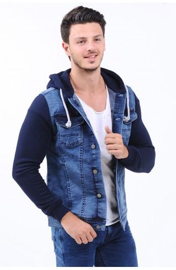 کت جین کلاه دار مردانه