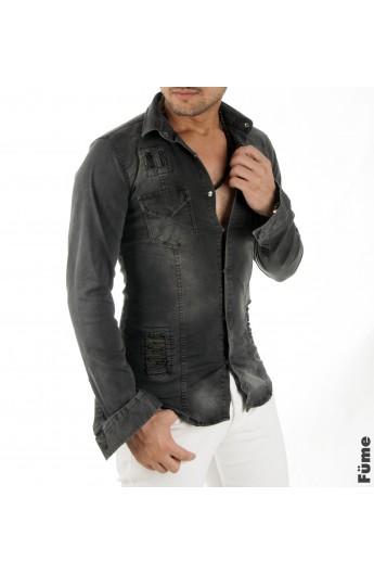 پیراهن جین جیب دار مردانه