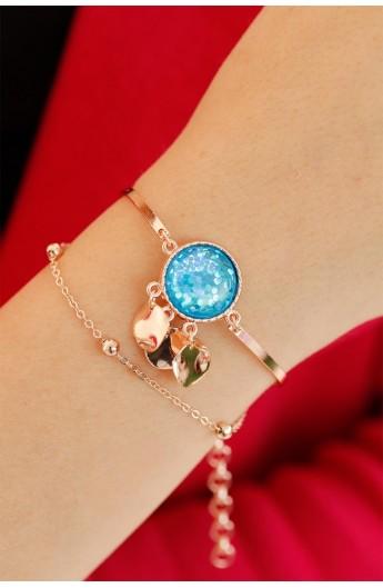 دستبند نگین آبی زنانه