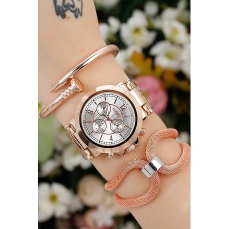 ست ساعت دستبند استیل زنانه