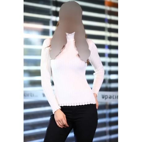 بلوز بافت یقه مدل دار زنانه