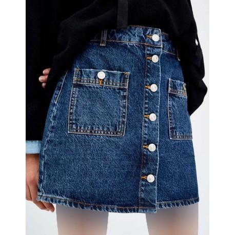 دامن جین دکمه دار زنانه