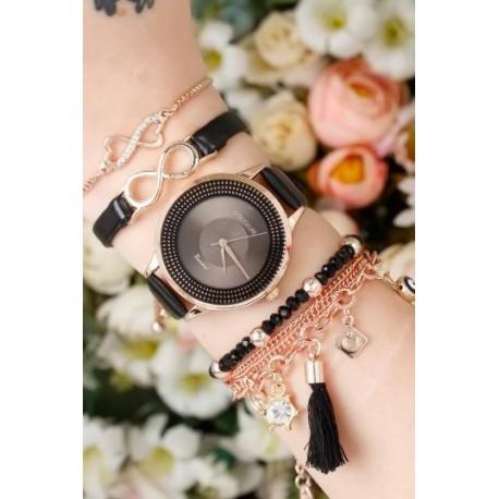 ست ساعت دستبند بند چرم زنانه