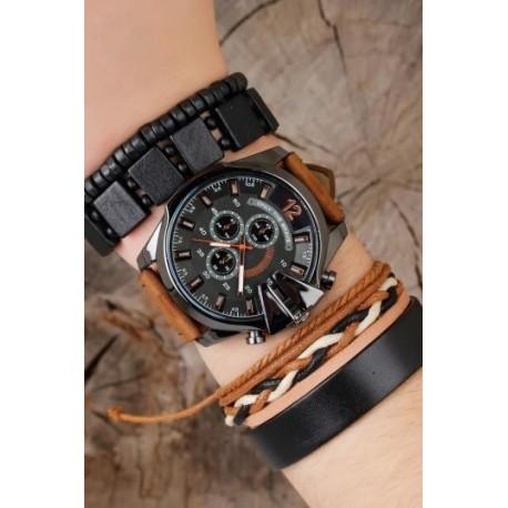 ست ساعت دستبند مدل دار مردانه