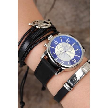 ست ساعت دستبند بند چرم مردانه