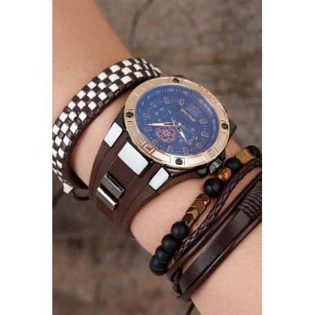 ست ساعت دستبند قهوه ای مردانه