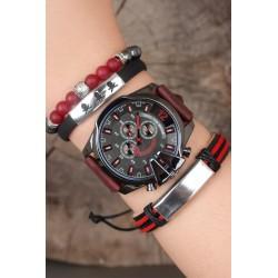 ست ساعت دستبند چرم مردانه
