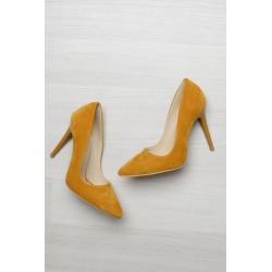 کفش پاشنه دار خردلی زنانه