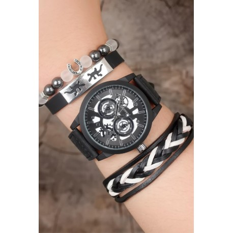ست ساعت دستبند مشکی مردانه