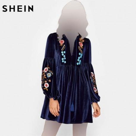 پیراهن مخمل طرحدار زنانه