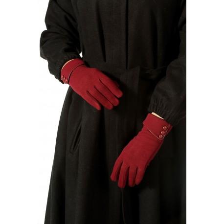دستکش زرشکی زنانه