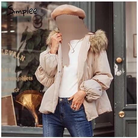 کاپشن کلاه خزدار زنانه
