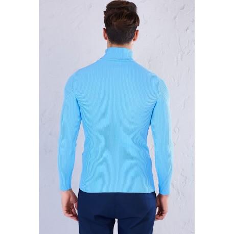 بلوز بافت آبی مردانه