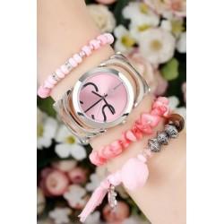 ست ساعت و دستبند صورتی