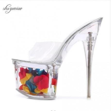 صندل پاشنه شیشه ای زنانه