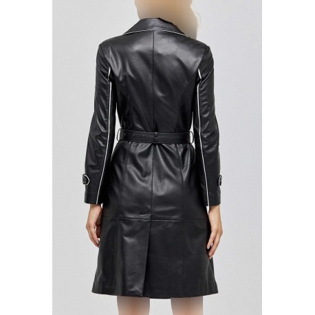 کت چرم بلند زنانه