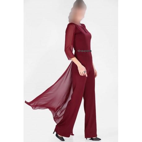 لباس سرهمی زرشکی مجلسی
