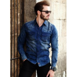 پیراهن جین مدل دار مردانه