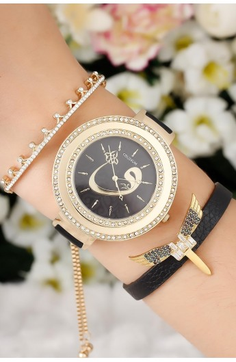 ست دستبند ساعت نگینی زنانه
