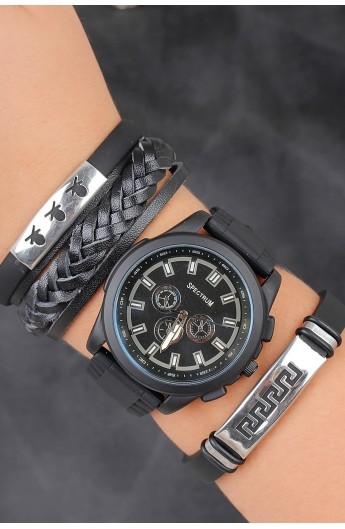 ست ساعت دستبند طرحدار مردانه