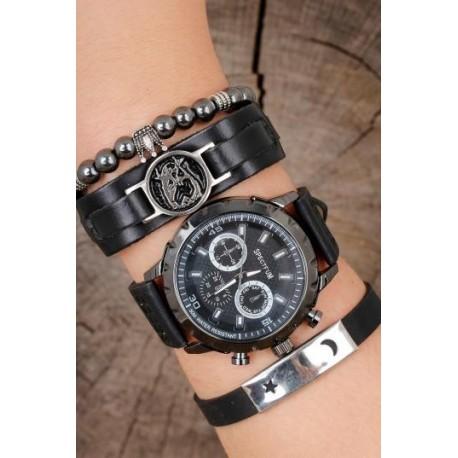 ست ساعت و دستبند تاجدار مردانه