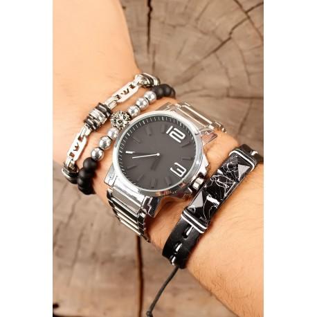 ست ساعت دستبند بند استیل مردانه